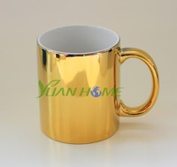 golden & silver coated ceramic mugs, heat transfer printing ceramic cups, promotional gift, premium