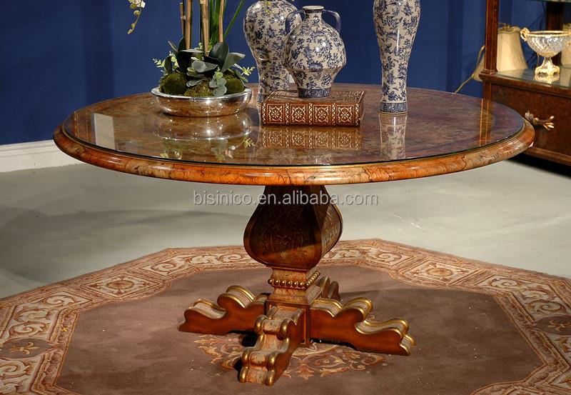 eleganti in legno tavolo da pranzo rotondo con vernice oro, legno ... - Tavolo Da Pranzo Set Con Tavola Rotonda