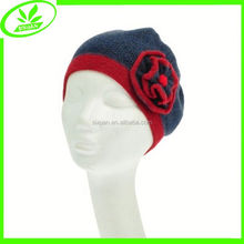 Wholesale cuffed colorful flower knitted women wool hat