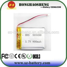 HHS 3.7v 850mah 503450 lithium-ion polymer battery vehicle travelling date recorder battery for sale