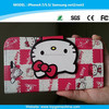 Soft tpu back cover + hello kitty pattern leather phone case for iPhone 6