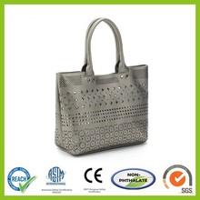 Fashion Ladies laptop bag with laser die cutting pattern, lunch bags,Metallic pu bag