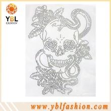 Beautiful skull Crystal rhinestone transfer design made in China