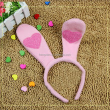 2015 Wholesale Plush Hearts Rabbit Ears Party Supplies Kids Bunny Ear Headband