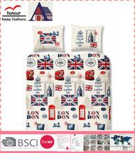 London Famous Building Pattern Polyester Filling Comforter Kids Printed Quilt Set