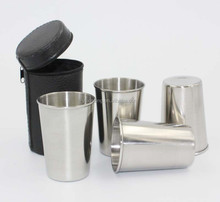 18/8 Stainless Steel Wine Glasses Beer cup / coffee mug with Black Leather Case,3oz set of 4 pcs