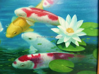 100% Handmade New Modern Lucky Four Koi fish by the lotus pond Oil Painting Large Size Feng Shui Wall Hanging