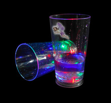 LED flashing beaker cup with /LED PS/Plastic wide mouth cup for party, bar, pub, club cup