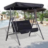 2 Person Outdoor Patio Swing Canopy Awning Yard Furniture Hammock Steel Black