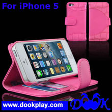 Crocodile Flip PU Leather cover for Apple iPhone5 iPhone 5 Card Wallet Case with holder stand