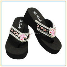 Womens Wedge thick sole flip flop lady Rhinestone Studded Bling EVA Flip Flops