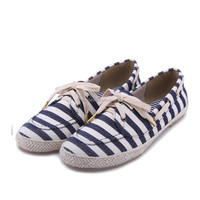 wholesale women's & mens gender espadrille shoes navy red stripe canvas shoes lace up moccasin casual shoes sneaker shoes