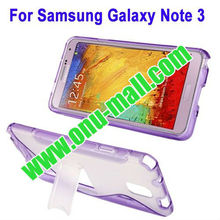 Plastic + TPU Material S Line Translucent Case for Samsung Galaxy Note 3 / N9000 with Holder