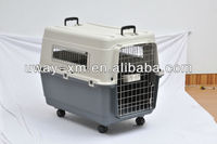 Size XXL plastic multifunctional animal cage for travel with two handle and wheels