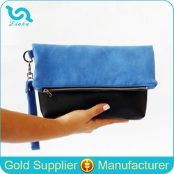 Blue Wristlet Suede Clutch Bags, Zip Fold Over Leather Purse, Faux Suede Leather Clutch Bag With Black Leather Bottom