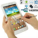 3G Phablet, GPS + AGPS, Android 4.2.2, CPU Chip: MTK6589 1.2GHz Quad Core, ROM: 8GB , RAM: 1GB , 7 inch LDVS IPS Capacitive Touc