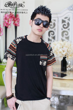 2015 Peijiaxin Casual Style Wholesale Cheap Pocket Raglan Mens Fashion T shirt