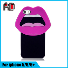 3D silicone cartoon Big Mouth Soft Case For Iphone 6 6Plus Sex Lips Hard Case