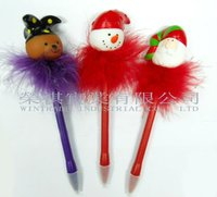 Flashing Christmas Pen with Feather