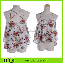 Vintage flower printing tops, sexy adjustable strap chiffon Tank, ladies sweetheart tanktops