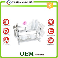 Kitchen Plate Draining Rack Holder Metal Wire Dish Drainer Chrome
