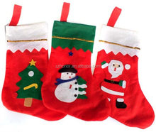Hot sale gold sticker christmas socks/stockings, christmas decoration, non-woven fabrics socks