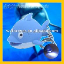 Hot Sales HT2082 Plastic Dolphin Shape Sound LED Flashlight Key Ring