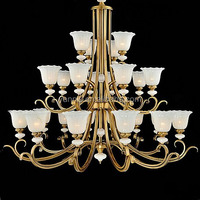 LED large size glass shade bronze chandelier for hotel villa, tradititonal chandelier for hotel, hotel lobby chandelier