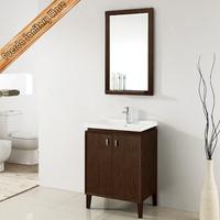 Modern 24 inch free standing integrated ceramic sink solid wood bathroom cabinet vanity furniture FED-1925