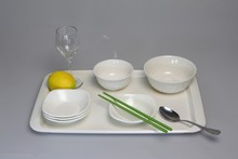 Special design square cutlery set plastic melamine tray