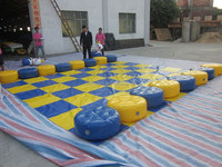 Yellow / Blue inflatable twister mat for adults sports game