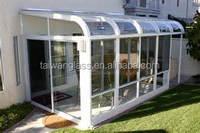Curve toughened glass sunroom