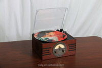 Antique wooden gramophone with USB slot