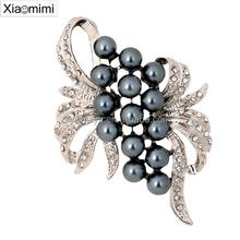 2015 Pearl diamond brooch flower design diamond brooch for ladies rhinestone costume jewelry
