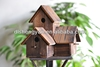 Unique Garden Wooden Bird Houses For Three Birds/Stand Bird Nests