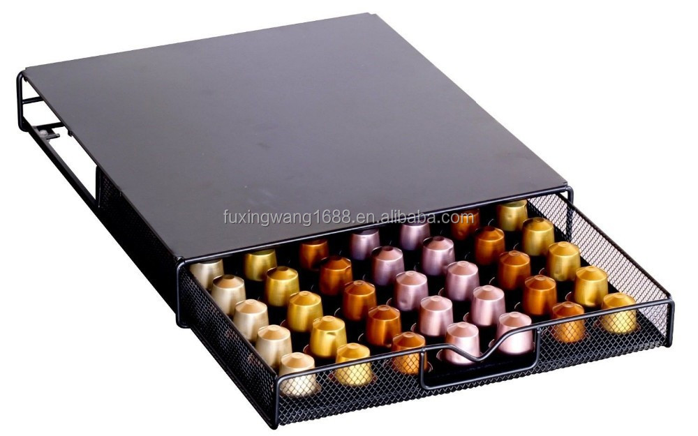decobros dosette de caf de rangement maille nespresso tiroir support pour 56 capsules noir. Black Bedroom Furniture Sets. Home Design Ideas