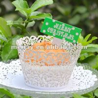 """hot design! laser cut """"little vine"""" cupcake wrapper in white pearlized paper from Mery Crafts"""