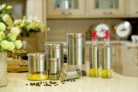 4 pcs oil and vinegar cruet set and salt and pepper bottle