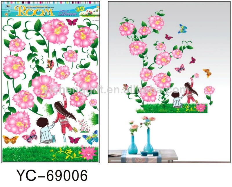 Flores reutilizables decoraciones para el hogar etiqueta de la pared adhesivos identificaci n - Decoraciones para el hogar ...