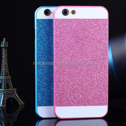 2015 factory wholesale cheap shiny glitter chrome hard PC cover case for iphone 6 with logo
