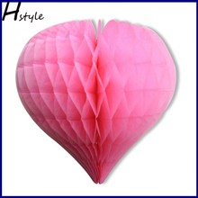 Heart Shaped Tissue Paper Honeycomb Balls Paper Crafts Wedding Home Party Valentine Decoration SD047