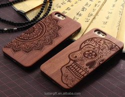 New arrival Totem designs engraved Rosewood phone case for iPhone 6 wood cover