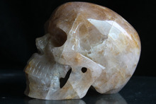 2015 hot sale Wholesale Natural Unique clear crystal classic Crystal hair skull crystal healing fluorite crystal skull