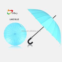 "23"" 24 Rib Lake Blue Windproof Solid Golf Umbrella"