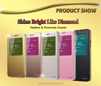 Factory price dot view waterproof stand leather mobile phone case for samsung galaxy note 3