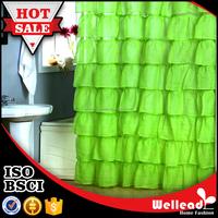 Fashion ruffle polyester shower curtain