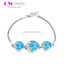 Silver Fashion Bracelet With Natural Blue Opal Stones