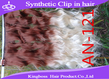Hot new product one piece blond 100 kanekalon synthetic clip in hair extension