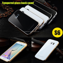 Luxury Ultra thin Hybrid tempered glass back cover metal aluminum frame cases for samsung galaxi S6