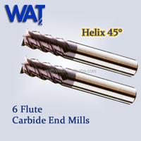 Helix 45 degree 6 Flute Carbide CNC End Mill